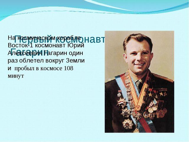 Первый космонавт Юрий Гагарин На космическом корабле Восток-1 космонавт Юрий...