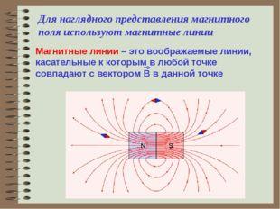 Для наглядного представления магнитного поля используют магнитные линии Магни