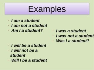 Examples I am a student I am not a student Am I a student? I will be a studen