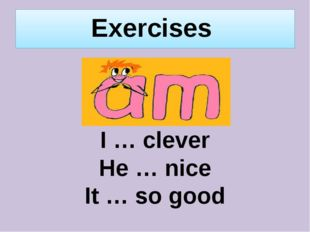 Exercises I … clever He … nice It … so good