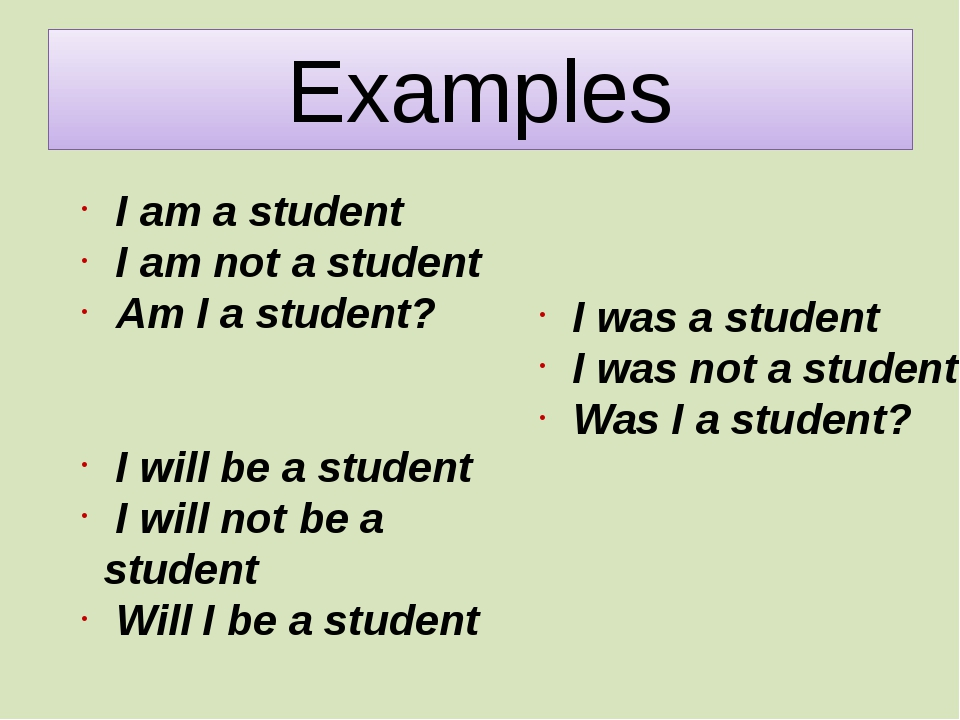 Examples I am a student I am not a student Am I a student? I will be a studen...