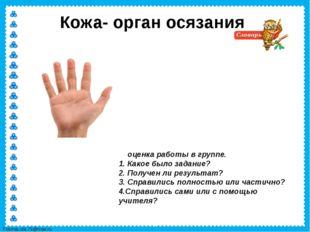 Кожа- орган осязания оценка работы в группе. 1. Какое было задание? 2. Получе
