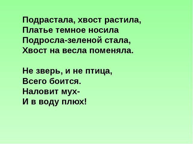 Подрастала, хвост растила, Платье темное носила Подросла-зеленой стала, Хвост...