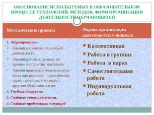 Методические приемы Формы организации деятельности учащихся 1. Формирование: