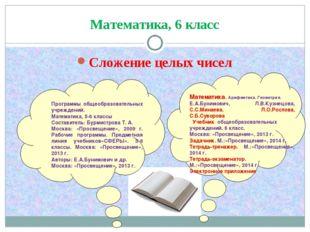 Математика, 6 класс Сложение целых чисел Математика. Арифметика. Геометрия. Е