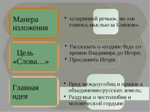 Манера изложения Цель «Слова…» Главная идея «старинной речью», но «не гоняясь