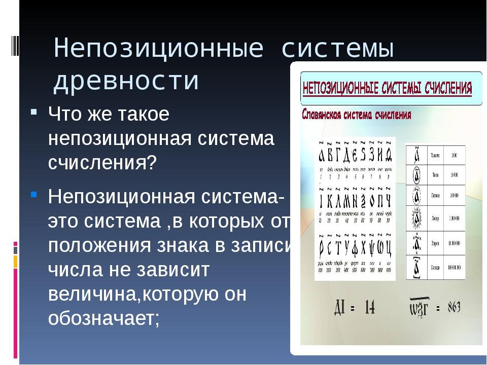 Непозиционные системы древности Что же такое непозиционная система счисления?...