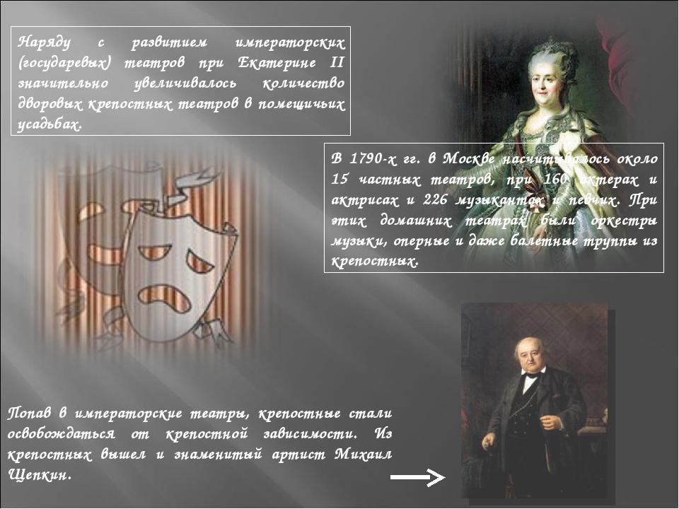 Наряду с развитием императорских (государевых) театров при Екатерине II значи...