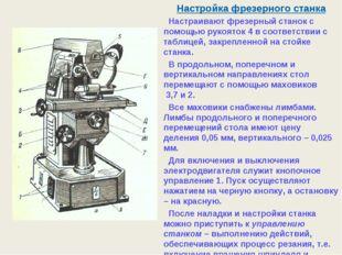 Настройка фрезерного станка Настраивают фрезерный станок с помощью рукояток 4