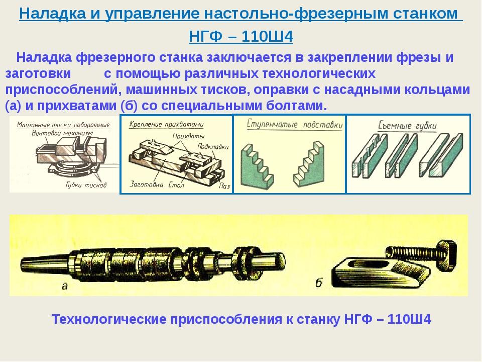 Наладка и управление настольно-фрезерным станком НГФ – 110Ш4 Наладка фрезерно...
