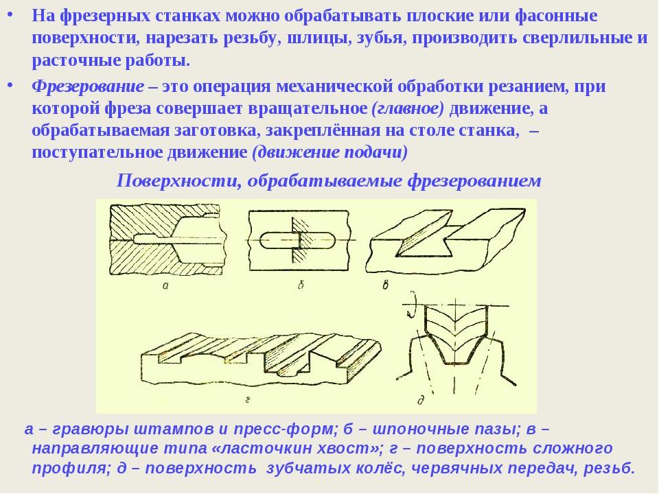 На фрезерных станках можно обрабатывать плоские или фасонные поверхности, нар...