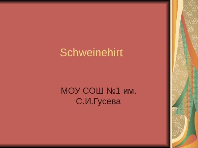 Schweinehirt МОУ СОШ №1 им. С.И.Гусева
