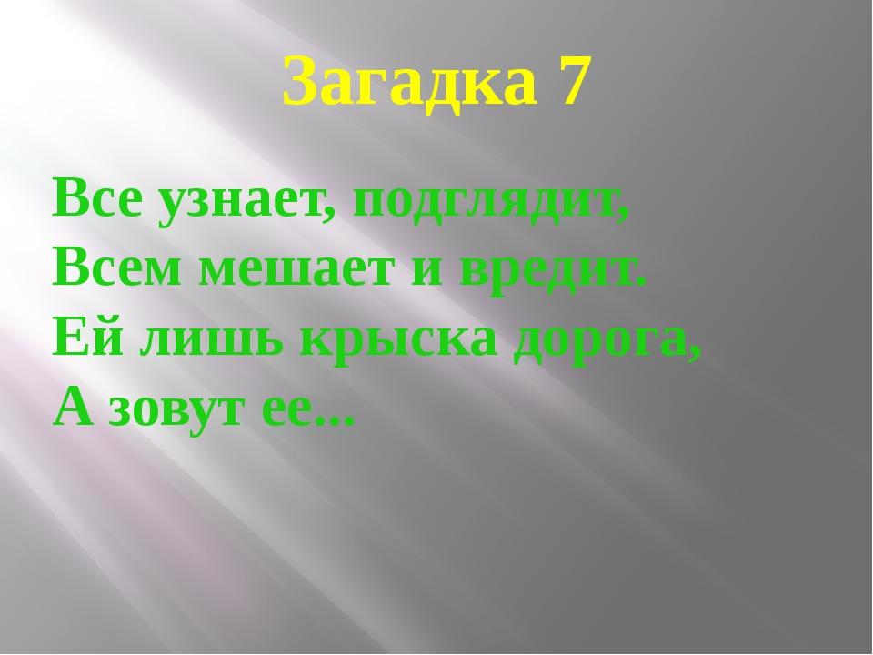 Загадка 7 Все узнает, подглядит, Всем мешает и вредит. Ей лишь крыска дорога,...