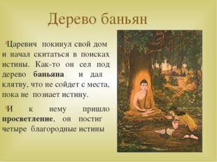 Дерево баньян Царевич покинул свой дом и начал скитаться в поисках истины. Ка