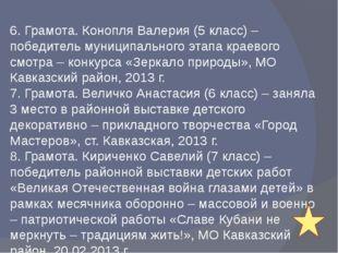 6. Грамота. Конопля Валерия (5 класс) – победитель муниципального этапа крае