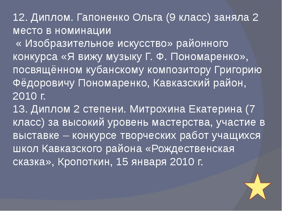 12. Диплом. Гапоненко Ольга (9 класс) заняла 2 место в номинации « Изобразите...