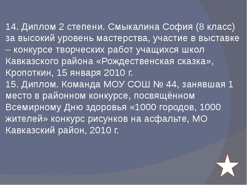 14. Диплом 2 степени. Смыкалина София (8 класс) за высокий уровень мастерств...