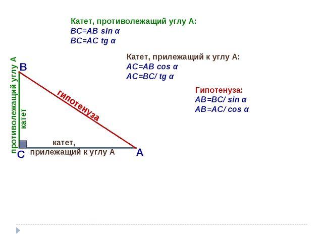 Катет, противолежащий углу А: BС=AB sin α BС=AC tg α Катет, прилежащий к углу...