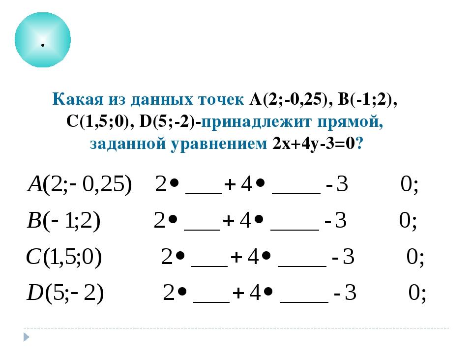 . Какая из данных точек А(2;-0,25), В(-1;2), С(1,5;0), D(5;-2)-принадлежит пр...