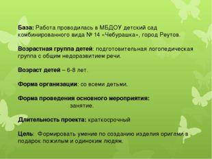 База: Работа проводилась в МБДОУ детский сад комбинированного вида № 14 «Чебу