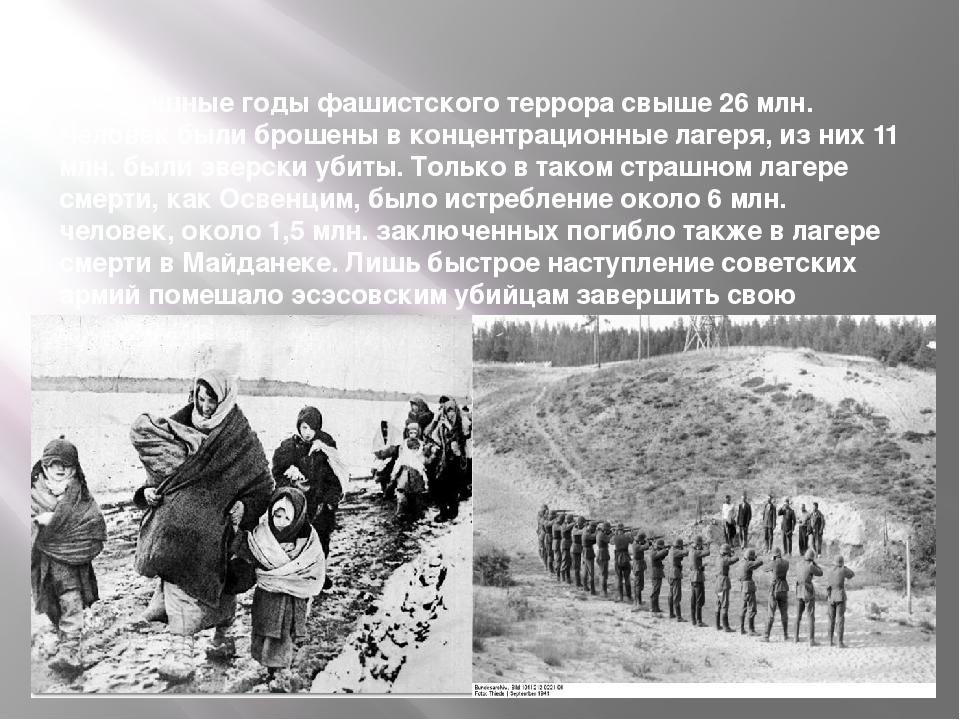 За страшные годы фашистского террора свыше 26 млн. Человек были брошены в кон...