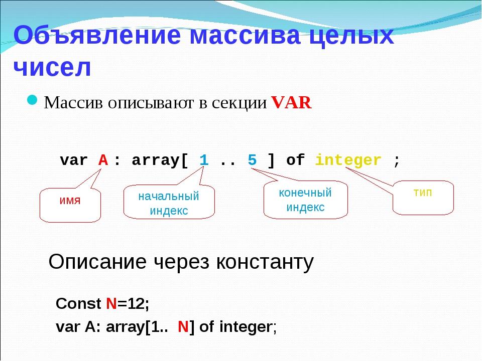 Объявление массива целых чисел Массив описывают в секции VAR Const N=12; var...