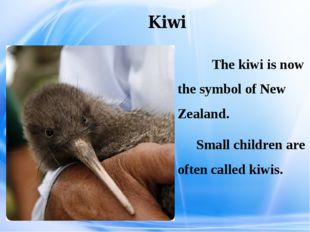 Kiwi The kiwi is now the symbol of New Zealand. Small children are often cal