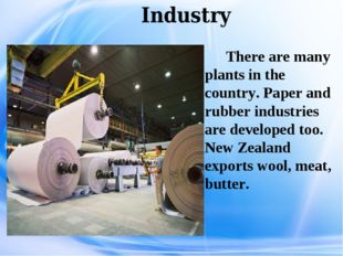 Industry There are many plants in the country. Paper and rubber industries a