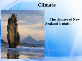 Climate The climate of New Zealand is moist.