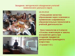 Заседание методического объединения учителей Шимолинского школьного округа 1