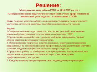 Методическая тема работы РМО на 2016-2017 уч. год : «Совершенствование педаг