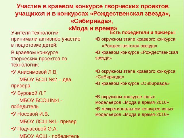 Участие в краевом конкурсе творческих проектов учащихся и в конкурсах «Рождес...