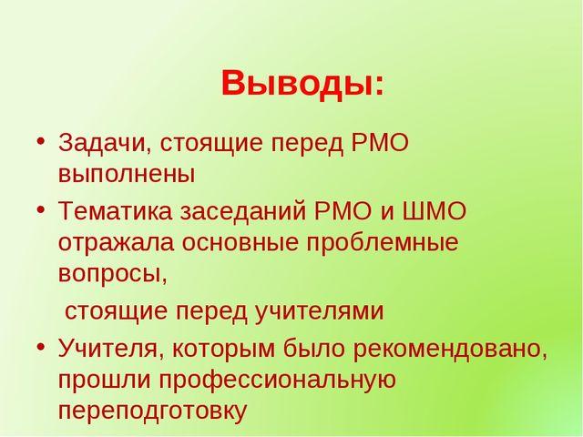 Выводы: Задачи, стоящие перед РМО выполнены Тематика заседаний РМО и ШМО отр...