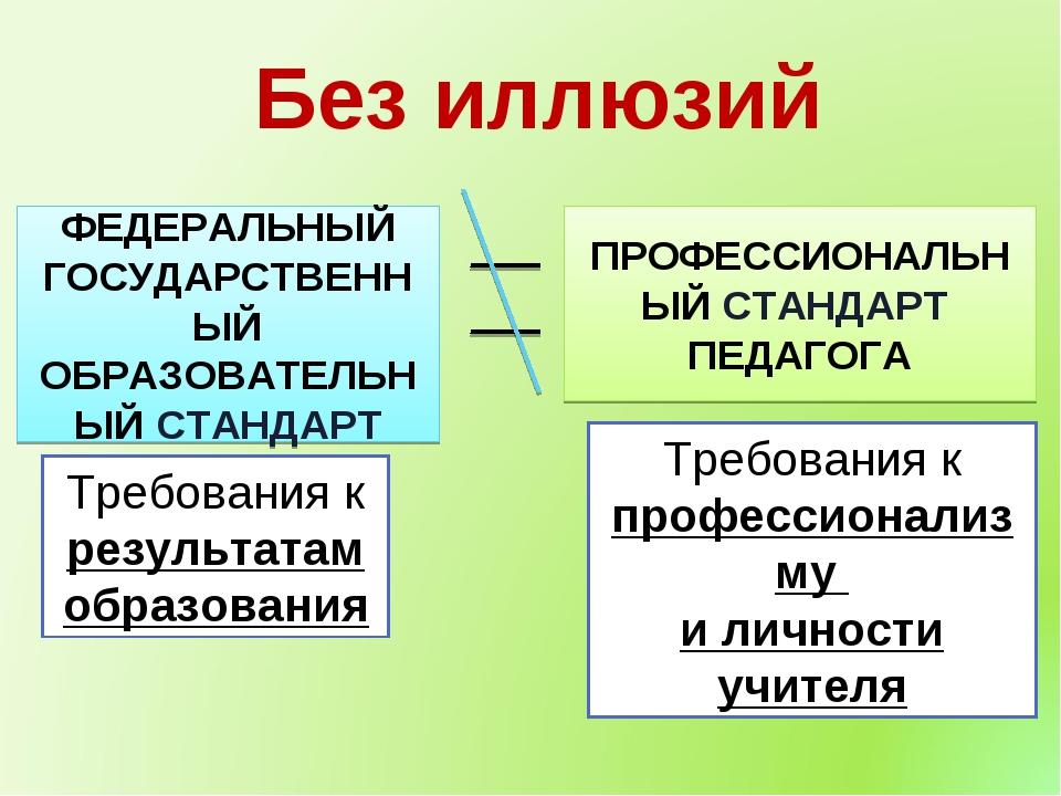 Без иллюзий ФЕДЕРАЛЬНЫЙ ГОСУДАРСТВЕННЫЙ ОБРАЗОВАТЕЛЬНЫЙ СТАНДАРТ ПРОФЕССИОНАЛ...