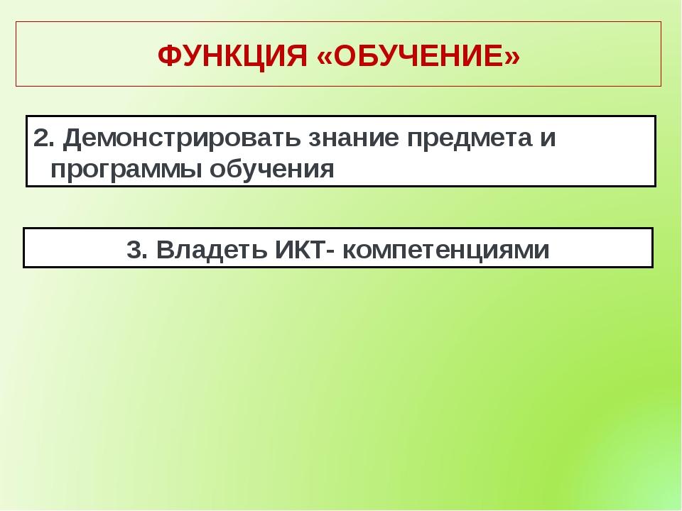 ФУНКЦИЯ «ОБУЧЕНИЕ» 2. Демонстрировать знание предмета и программы обучения 3....