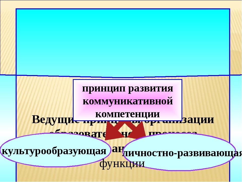 Ведущие принципы организации образовательного процесса по иностранному языку...