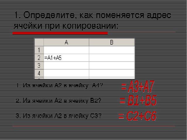 1. Определите, как поменяется адрес ячейки при копировании: Из ячейки А2 в яч...