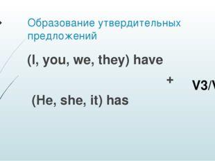Образование утвердительных предложений (I, you, we, they) have + (He, she, it