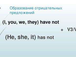 Образование отрицательных предложений + V3/Ved (He, she, it) has not (I, you,