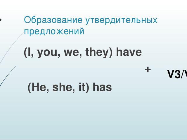 Образование утвердительных предложений (I, you, we, they) have + (He, she, it...