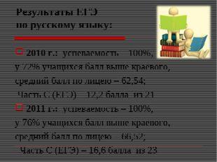 Результаты ЕГЭ по русскому языку: 2010 г.: успеваемость – 100%, у 72% учащихс