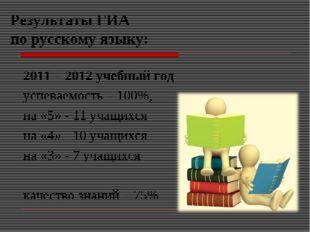 Результаты ГИА по русскому языку: 2011 – 2012 учебный год успеваемость – 100%