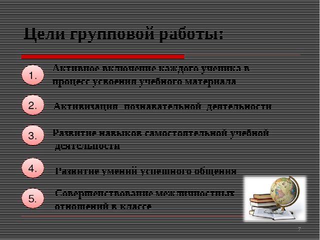Цели групповой работы: 1. Активизация познавательной деятельности 2. 4. 3. Ра...