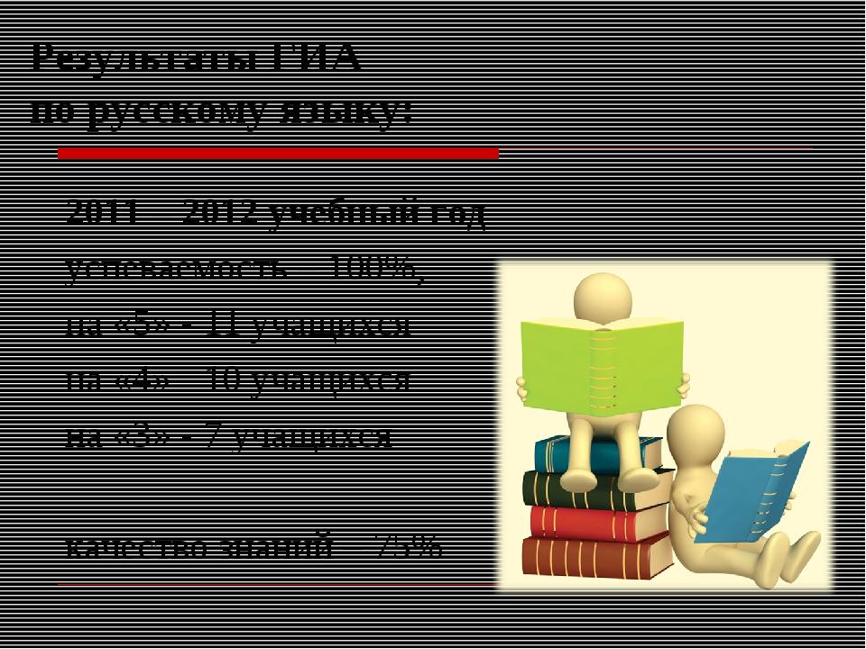 Результаты ГИА по русскому языку: 2011 – 2012 учебный год успеваемость – 100%...