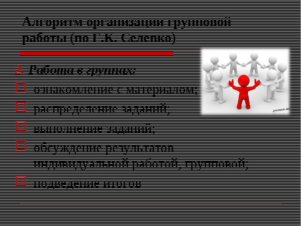 Алгоритм организации групповой работы (по Г.К. Селевко) 2. Работа в группах:...