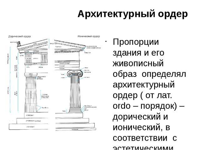 Архитектурный ордер Пропорции здания и его живописный образ определял архитек...