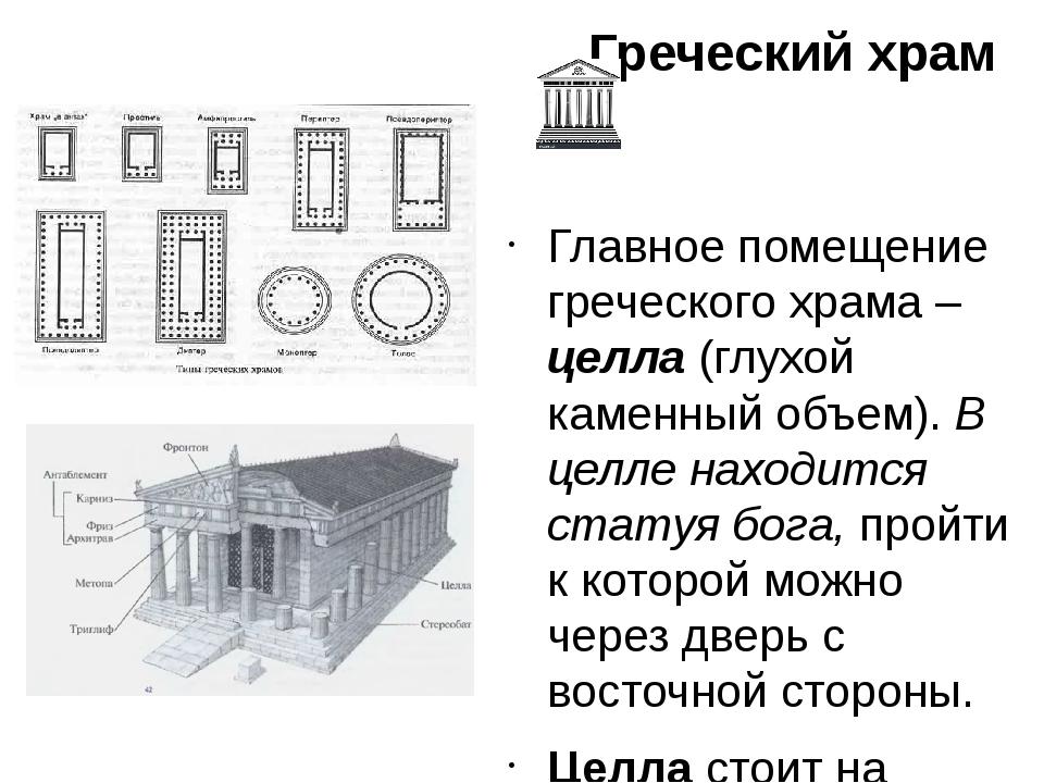 Греческий храм Главное помещение греческого храма – целла (глухой каменный об...