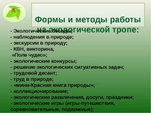Формы и методы работы на экологической тропе: - Экологические беседы; - наб