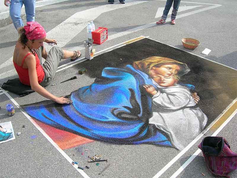Как рисовать рисунки на асфальте поэтапно