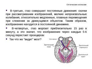 Оптические иллюзии В-третьих, глаз совершает постоянные движения: скачки при